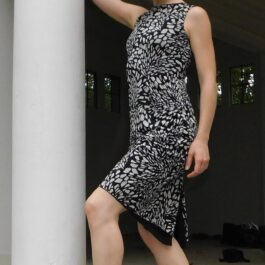 Black with white print tango dress - Bailemos Dancewear