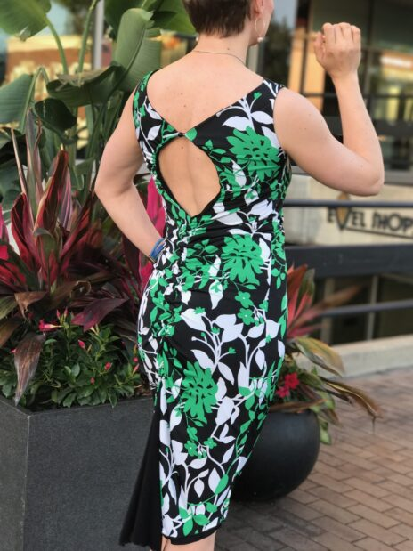Green/Black Floral Print Reversible Dress With Keyhole Back. - Bailemos Dancewear