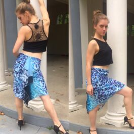 Blue Animal Print Chiffon Skirt - Bailemos Dancewear