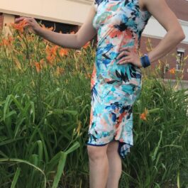 Tango dress- orange/blue tropical floral - Bailemos Dancewear