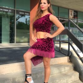 Maroon Crop Top with Fringed Skirt Set for Salsa & Latin Dancing - Bailemos Dancewear
